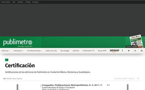 Certificación                                          Publimetro