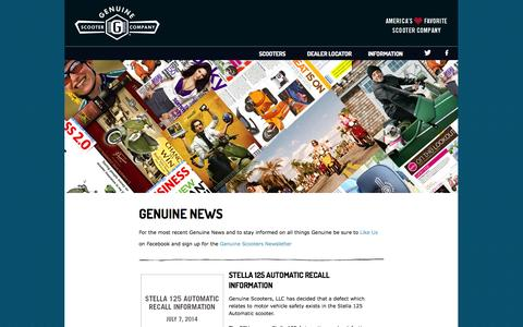 Screenshot of Press Page genuinescooters.com - Scooter News | Genuine Scooters - captured Sept. 19, 2014