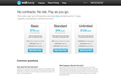 Screenshot of Pricing Page waitawayapp.com - WaitAway | Plans & Pricing - captured Oct. 27, 2014