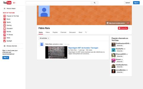 Screenshot of YouTube Page youtube.com - Fábio Reis  - YouTube - captured Oct. 23, 2014