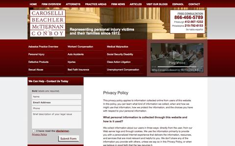 Screenshot of Privacy Page cbmclaw.com - Privacy Policy | Caroselli Beachler McTiernan & Conboy, L.L.C. | Pittsburgh, Philadelphia, Pennsylvania - captured Oct. 2, 2014