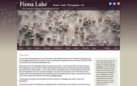 Screenshot of Testimonials Page fionalake.com.au - Australian coffee table books, outback cattle station photos, country landscapes - Fiona Lake - captured Oct. 31, 2014
