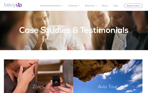 Screenshot of Case Studies Page Testimonials Page bevyup.com - Case Studies & Testimonials - BevyUp - captured Feb. 7, 2016