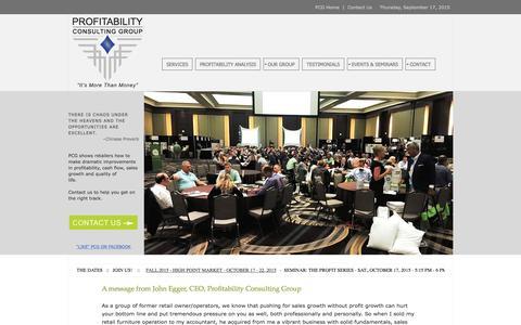 Screenshot of Home Page profitabilityconsulting.com - Profitability Consulting Group - captured Sept. 17, 2015