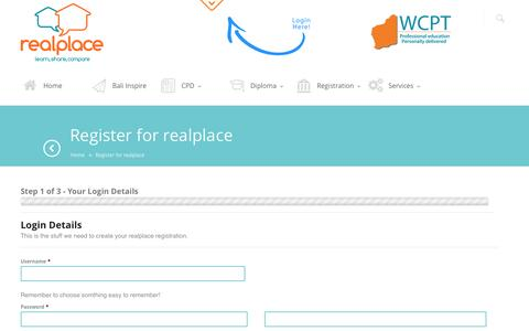 Screenshot of Signup Page wcpt.com.au - Register for realplace - captured Oct. 7, 2014