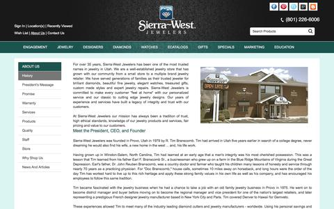 Screenshot of About Page sierra-west.com - Sierra-West Jewelers: About Us - History, Products, Quality, Services, Staff and Store - captured Dec. 2, 2016