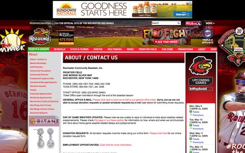 Screenshot of About Page milb.com - About / Contact us   Rochester Red Wings About - captured May 9, 2016