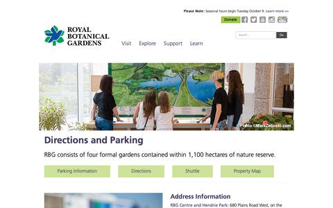 Screenshot of Maps & Directions Page rbg.ca - Directions - Royal Botanical Gardens - captured Oct. 4, 2018