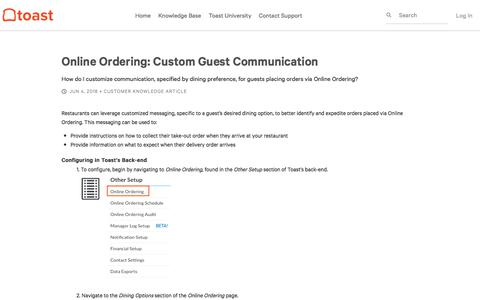 Online Ordering: Custom Guest Communication