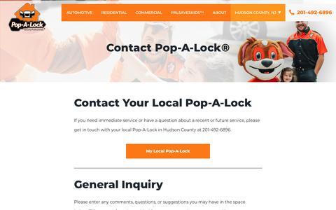 Screenshot of Contact Page popalock.com - Contact Us | Pop-A-Lock® - captured Nov. 1, 2019