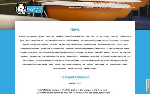 Screenshot of Press Page k9scrubclub.com - K9 Scrub Club News - captured Sept. 30, 2014