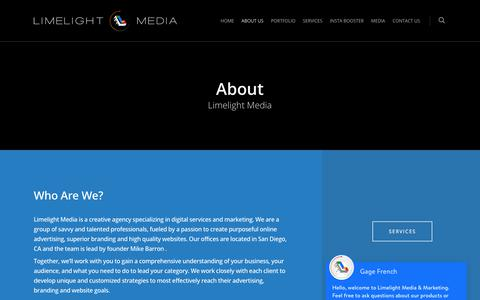 Screenshot of About Page limelightmedia.co - Web Design | Limelight Media & Marketing | About Us - captured July 7, 2018