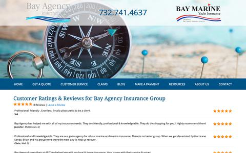 Screenshot of Testimonials Page bayagency.net - Customer Testimonials & Reviews - Bay Agency Insurance Group - captured Oct. 5, 2018