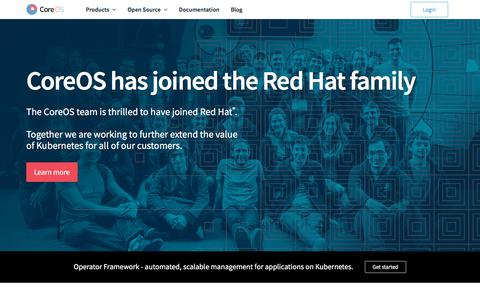 Screenshot of Home Page coreos.com - Open source, containers, and Kubernetes | CoreOS - captured July 18, 2019