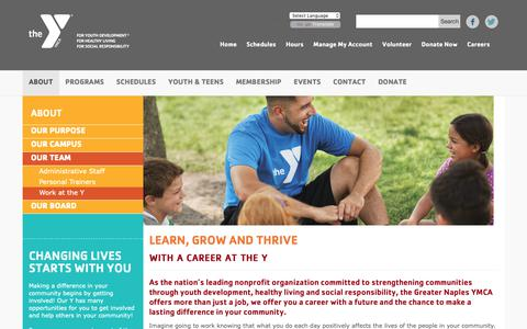 Screenshot of Jobs Page greaternaplesymca.org - Work at the Y - captured Oct. 1, 2018