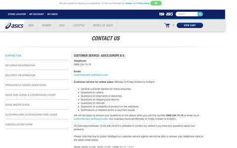 Screenshot of Contact Page asics.com - Contact US   ASICS GB - captured Aug. 30, 2016