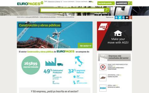 Screenshot of europages.es - Construcción y obras públicas , todos los proveedores para España y Europa de EUROPAGES - captured Sept. 12, 2015