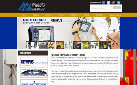 Screenshot of Home Page dynaquestenergy.com - Welcome to Dynaquest Energy Limited - captured Oct. 5, 2014