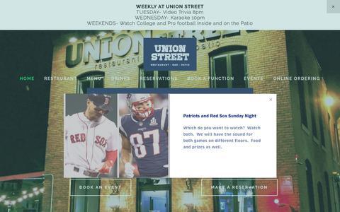 Screenshot of Home Page unionst.com - Union Street Restaurant - captured Oct. 19, 2018