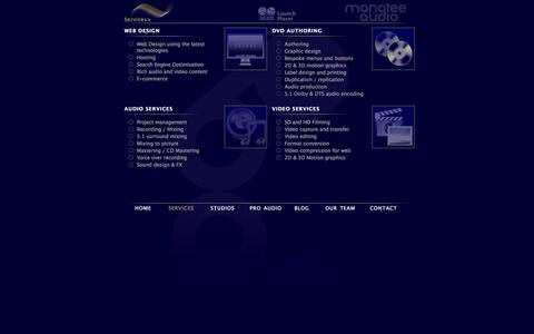Screenshot of Services Page manateeaudio.co.uk - Manatee Audio | Professionals in DVD Authoring | Audio Recording, Mixing & Mastering | Web Design & Development - captured Oct. 4, 2014