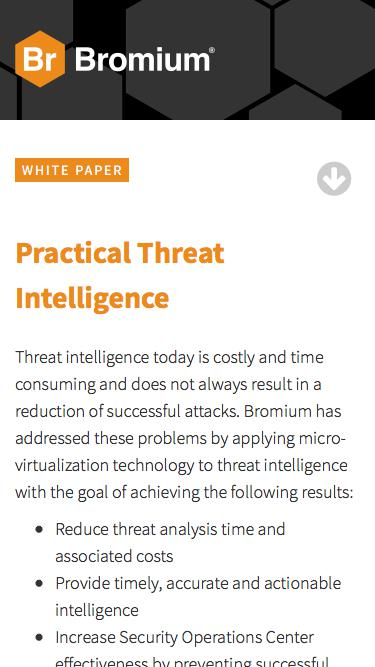 Bromium: White Paper - Practical Threat Intelligence