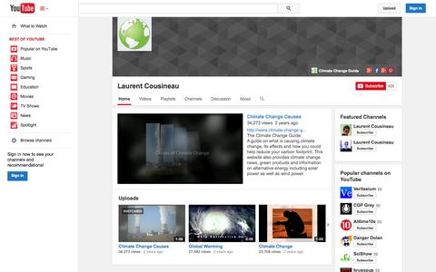 Screenshot of YouTube Page youtube.com - Laurent Cousineau  - YouTube - captured Oct. 22, 2014