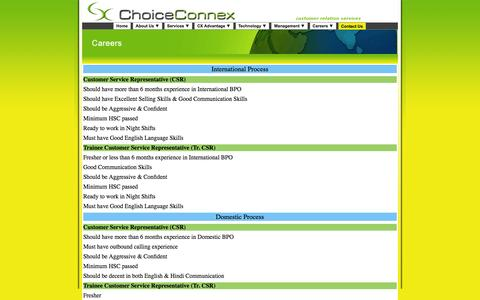 Screenshot of Jobs Page choiceconnex.com - ChoiceConnex: Contact Us - captured Oct. 2, 2014
