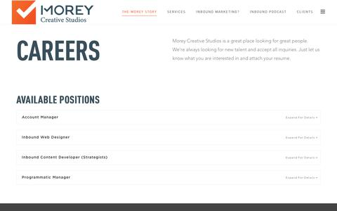 Screenshot of Jobs Page moreycreative.com - Inbound Marketing Positions on Long Island // Morey Creative Studios - captured Sept. 21, 2018