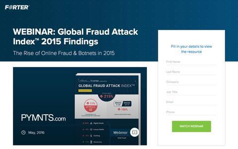 Screenshot of Landing Page forter.com - WEBINAR: Global Fraud Attack Index™ 2015 Findings - captured Jan. 3, 2017