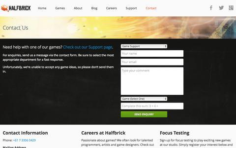 Screenshot of Contact Page halfbrick.com - Contact Us —  Halfbrick Studios - captured Sept. 16, 2014