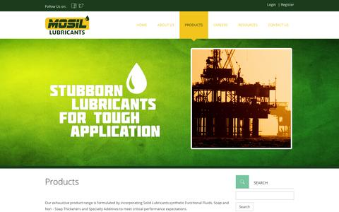 Screenshot of Products Page mosil.in - MOSIL Lubricants Pvt. Ltd.: Manufacturer of Lubricants - captured Feb. 14, 2016