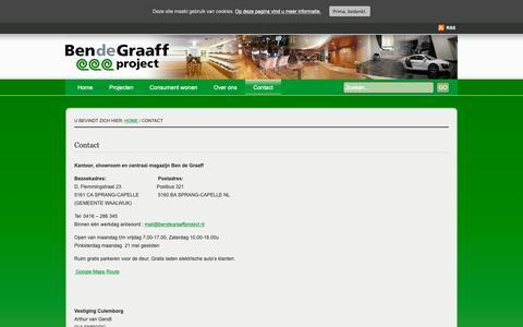 Screenshot of Contact Page bendegraaffproject.nl - Contact ben de graaff | Ben de Graaff project, vloeren en gordijnen specialist - captured Oct. 5, 2018