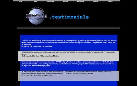 Screenshot of Testimonials Page workabilityllc.com - WORKability-LLC - captured Oct. 1, 2014