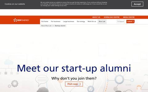 Screenshot of edfenergy.com - Start-up Alumni | Blue Lab | EDF Energy - captured Sept. 22, 2017