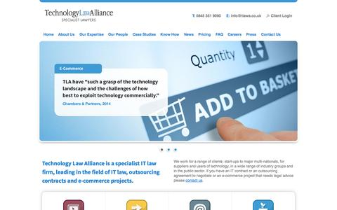 Screenshot of Home Page technologylawalliance.co.uk - Technology Law Alliance: IT Law, E-commerce Law & Outsourcing Law Specialists - captured Jan. 22, 2015