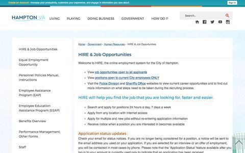 Screenshot of Jobs Page hampton.gov - HIRE & Job Opportunities   Hampton, VA - Official Website - captured June 24, 2017