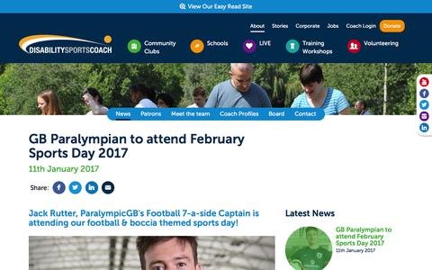 Screenshot of Press Page disabilitysportscoach.co.uk - GB Paralympian to attend February Sports Day 2017 - captured Jan. 12, 2017