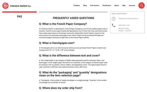Screenshot of FAQ Page frenchpaper.com - FAQ - captured June 29, 2018