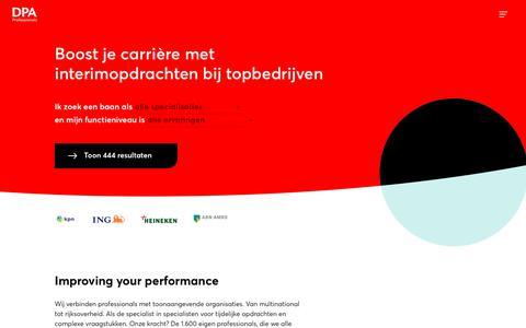 Screenshot of Home Page dpa.nl - Een wereld aan werk voor jou | Aan de slag voor topmerken | DPA - captured June 22, 2019