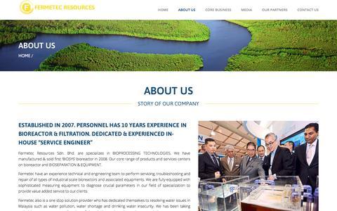 Screenshot of About Page fermetec.com - About Us – Fermetec Resources - captured Oct. 13, 2017
