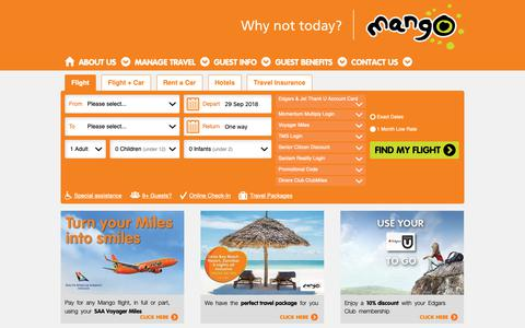 Screenshot of Home Page flymango.com - Mango Airlines | Affordable South African Domestic Flights - captured Sept. 26, 2018