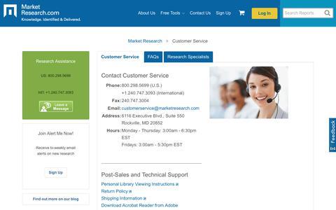 Screenshot of Support Page marketresearch.com - MarketResearch.com  Customer Service - captured Feb. 9, 2020