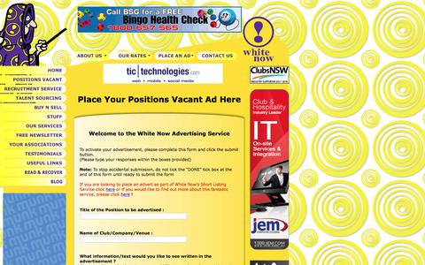 Screenshot of Login Page whitenow.com.au - Place a Positions ad at White Now ! - captured June 19, 2017