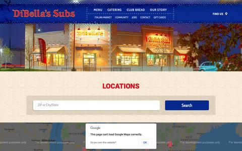 Screenshot of Locations Page dibellas.com - DiBella's Subs Locations - captured Oct. 9, 2018