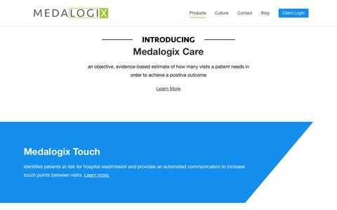 Screenshot of Products Page medalogix.com - Products - Medalogix - captured Oct. 18, 2018