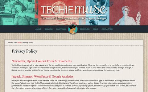 Screenshot of Privacy Page techiemuse.com - Privacy Policy | Techie Muse - captured Jan. 14, 2016