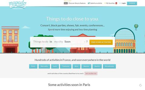Screenshot of Home Page mapado.com - Mapado - Things to do close to you. - captured July 17, 2014