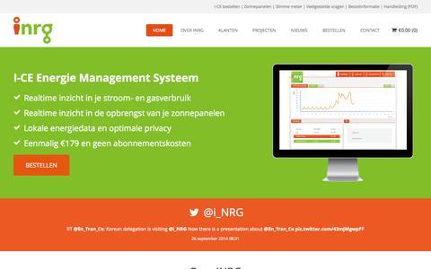 Screenshot of Home Page Contact Page i-nrg.com - iNRG   I-CE Energie Management Systeem - Zelf slim met energie - captured Sept. 30, 2014