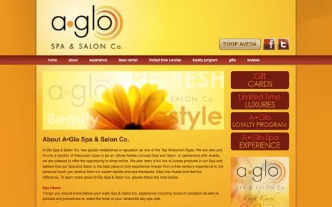 Screenshot of About Page aglospa.com - About A•Glo Spa & Salon Co. | An Aveda Concept Salon in Janesville, WI providing spa and salon services. - captured Oct. 2, 2014