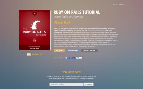 Screenshot of Home Page railstutorial.org - Ruby on Rails Tutorial, Learn Rails by Example - Michael Hartl    Softcover.io - captured Sept. 18, 2014